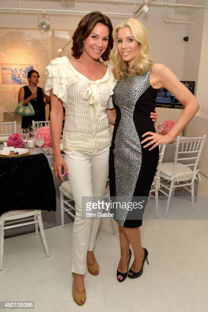 TV personalities LuAnn de Lesseps and Aviva Drescher attend the 'BidKind Presents World's Fairs #LostUtopias' Curated By Kipton Cronkite Exhibition...
