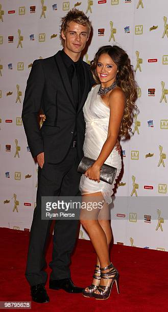 TV personalities Luke Mitchell and Rebecca Breeds arrive at the 52nd TV Week Logie Awards at Crown Casino on May 2 2010 in Melbourne Australia
