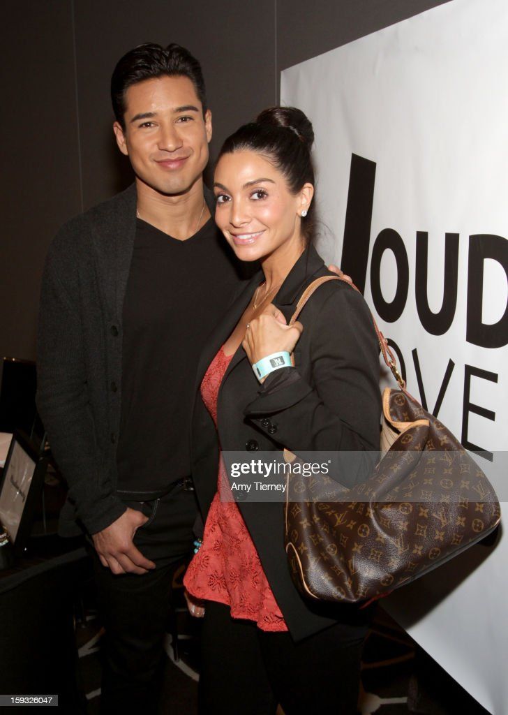 TV personalities Mario Lopez (L) and Courtney Lopez attends Kari Feinstein's Pre-Golden Globes Style Lounge at the W Hollywood on January 11, 2013 in Hollywood, California.