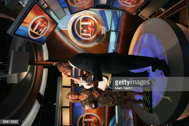 TV personalities Mary Hart and Kevin Frazier stand on the set of 'Inside Entertainment Tonight' at Paramount Studios on August 11 2005 in Los Angeles...