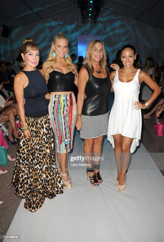 TV personalities <a gi-track='captionPersonalityLinkClicked' href=/galleries/search?phrase=Marysol+Patton&family=editorial&specificpeople=4422681 ng-click='$event.stopPropagation()'>Marysol Patton</a>, Alexia Echevarria, designer Monica Wise and <a gi-track='captionPersonalityLinkClicked' href=/galleries/search?phrase=Melissa+Gorga&family=editorial&specificpeople=7306775 ng-click='$event.stopPropagation()'>Melissa Gorga</a> attend the L*Space By Monica Wise show during Mercedes-Benz Fashion Week Swim 2014 at Cabana Grande at the Raleigh on July 21, 2013 in Miami, Florida.