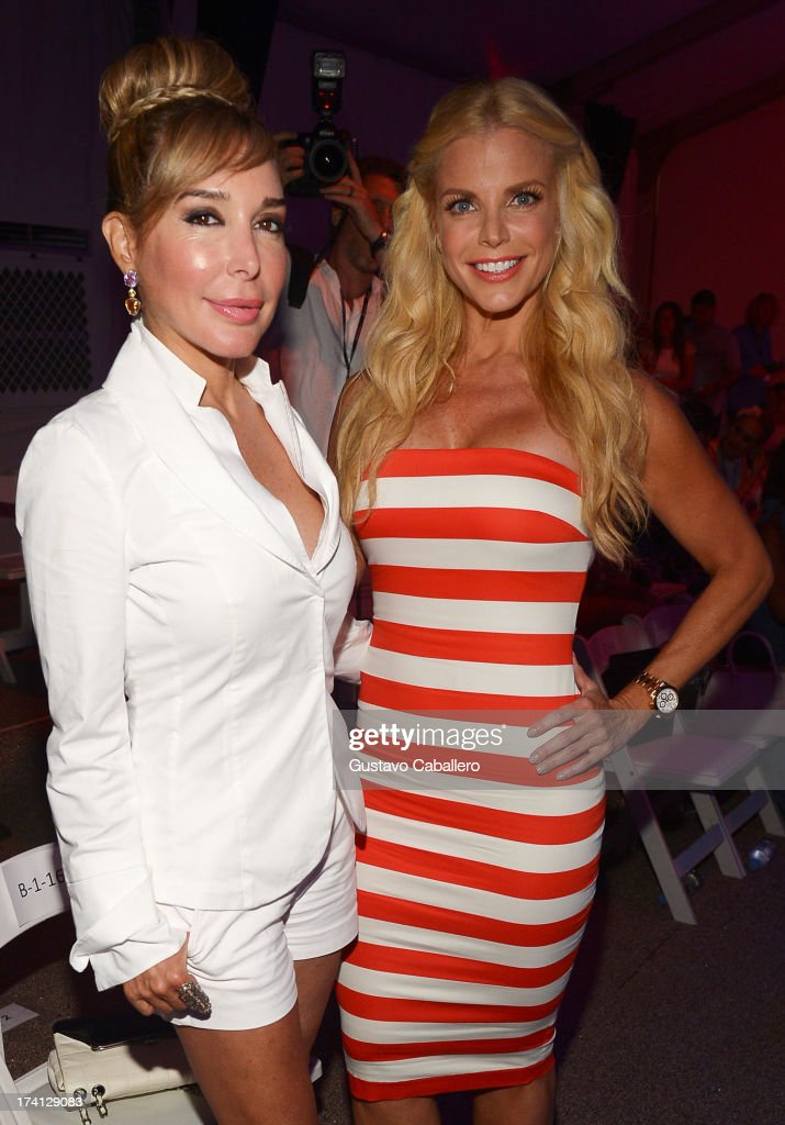 TV personalities Marysol Patton (L) and Alexia Echevarria attend the Mara Hoffman Swim show during Mercedes-Benz Fashion Week Swim 2014 at Cabana Grande at the Raleigh on July 20, 2013 in Miami, Florida.