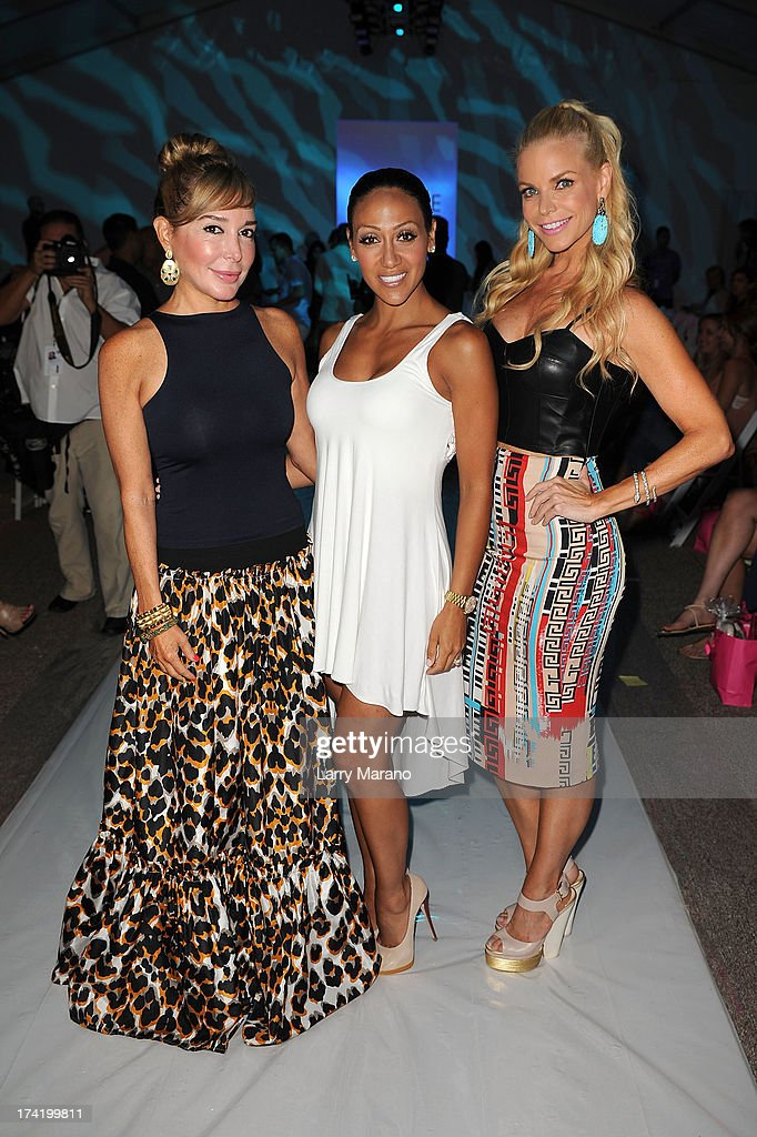 TV personalities Marysol Patton, Melissa Gorga and Alexia Echevarria attend the L*Space By Monica Wise show during Mercedes-Benz Fashion Week Swim 2014 at Cabana Grande at the Raleigh on July 21, 2013 in Miami, Florida.