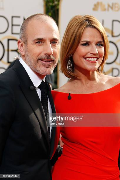 TV personalities Matt Lauer and Savannah Guthrie attend the 71st Annual Golden Globe Awards held at The Beverly Hilton Hotel on January 12 2014 in...