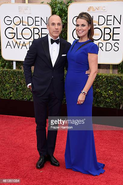 TV personalities Matt Lauer and Savannah Guthrie attend the 72nd Annual Golden Globe Awards at The Beverly Hilton Hotel on January 11 2015 in Beverly...