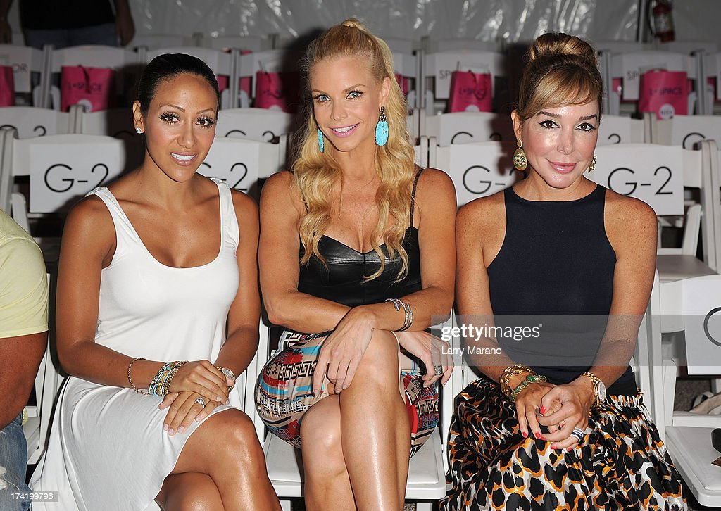 TV personalities <a gi-track='captionPersonalityLinkClicked' href=/galleries/search?phrase=Melissa+Gorga&family=editorial&specificpeople=7306775 ng-click='$event.stopPropagation()'>Melissa Gorga</a>, Alexia Echevarria and <a gi-track='captionPersonalityLinkClicked' href=/galleries/search?phrase=Marysol+Patton&family=editorial&specificpeople=4422681 ng-click='$event.stopPropagation()'>Marysol Patton</a> attend the L*Space By Monica Wise show during Mercedes-Benz Fashion Week Swim 2014 at Cabana Grande at the Raleigh on July 21, 2013 in Miami, Florida.