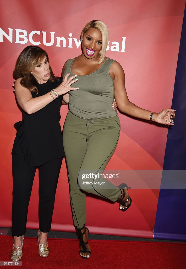 TV personalities Melissa Rivers (L) and Nene Leakes arrive at the 2016 Summer TCA Tour - NBCUniversal Press Tour at the Four Seasons Hotel - Westlake Village on April 1, 2016 in Westlake Village, California.
