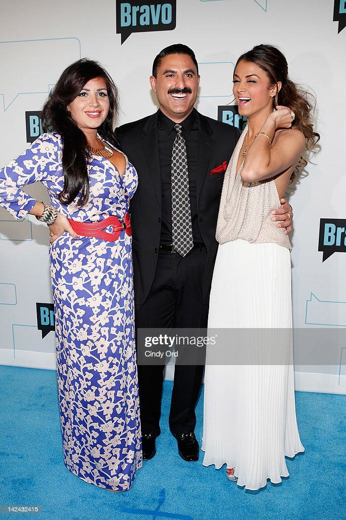 TV personalities Mercedes 'MJ' Javid, Reza Farahan, Golnesa 'GG' Gharachedahi attend the Bravo Upfront 2012 at Center 548 on April 4, 2012 in New York City.
