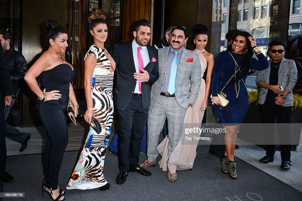 TV personalities Merecedes 'MJ' Javid, Goinesa 'GG' Gharachedaghi, Mike Shouhed, <a gi-track='captionPersonalityLinkClicked' href=/galleries/search?phrase=Reza+Farahan&family=editorial&specificpeople=9012581 ng-click='$event.stopPropagation()'>Reza Farahan</a>, Lily Ghalichi, and Asa Soltan Rahmati leave their Soho hotel on April 3, 2013 in New York City.