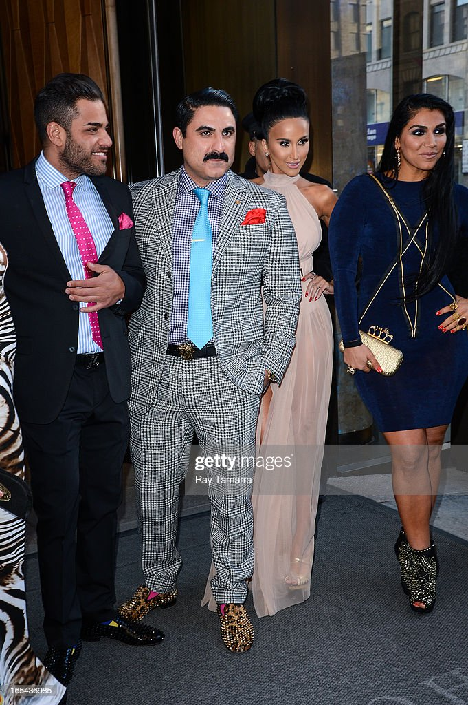 TV personalities Mike Shouhed, <a gi-track='captionPersonalityLinkClicked' href=/galleries/search?phrase=Reza+Farahan&family=editorial&specificpeople=9012581 ng-click='$event.stopPropagation()'>Reza Farahan</a>, Lily Ghalichi, and Asa Soltan Rahmati leave their Soho hotel on April 3, 2013 in New York City.
