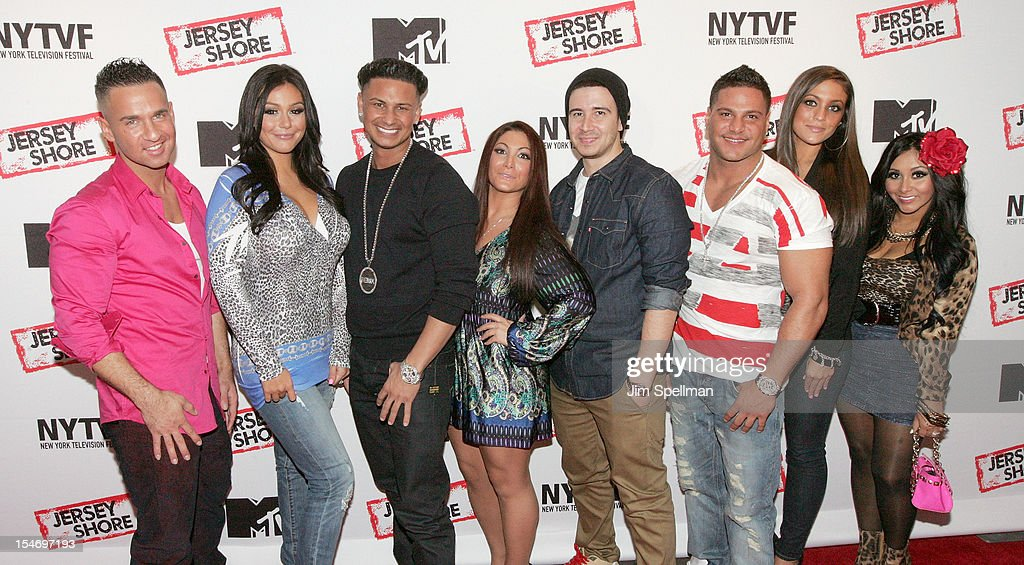 TV Personalities Mike 'The Situation' Sorrentino, Jenni 'JWOWW' Farley, Paul 'Pauly D' Delvecchio, Deena Cortese, Vinny Guadagnino, Ronnie Ortiz-Magro, Sammi Giancola and Nicole 'Snooki' Polizzi attend 'Love, Loss, (Gym, Tan) and Laundry: A Farewell To The Jersey Shore' during the 2012 New York Television Festival at 92Y Tribeca on October 24, 2012 in New York City.