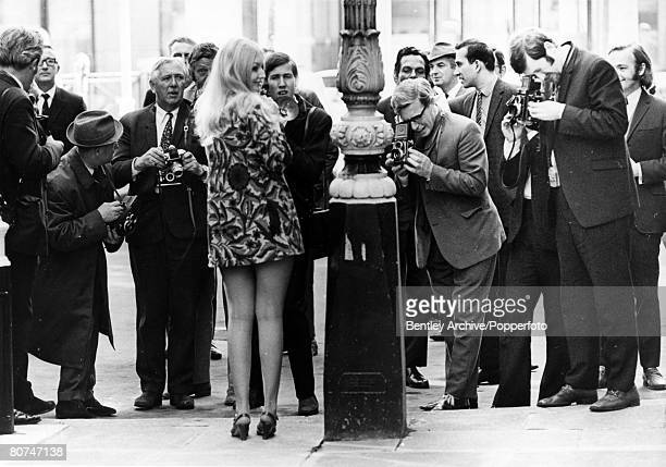 22nd September 1969 Welsh folk singer Mary Hopkin pictured wearing an ultra short minidress as she is the centre of attention for photographers after...