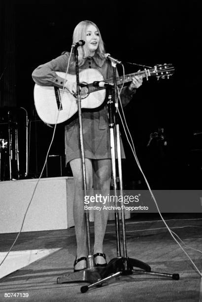circa 1970 Welsh folk singer Mary Hopkin pictured singing in St Paul's Cathedral Mary Hopkin enjoyed a no 1 hit with her first single 'Those Were The...