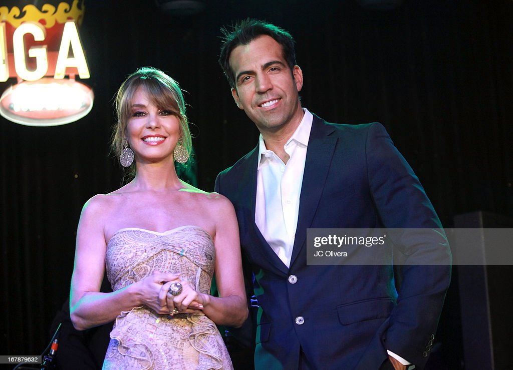 TV Personalities Myrka Dellanos (L) and Felipe Viel attend the launch party for Estrella TV news anchor: Myrka Dellanos at The Conga Room at L.A. Live on May 1, 2013 in Los Angeles, California.