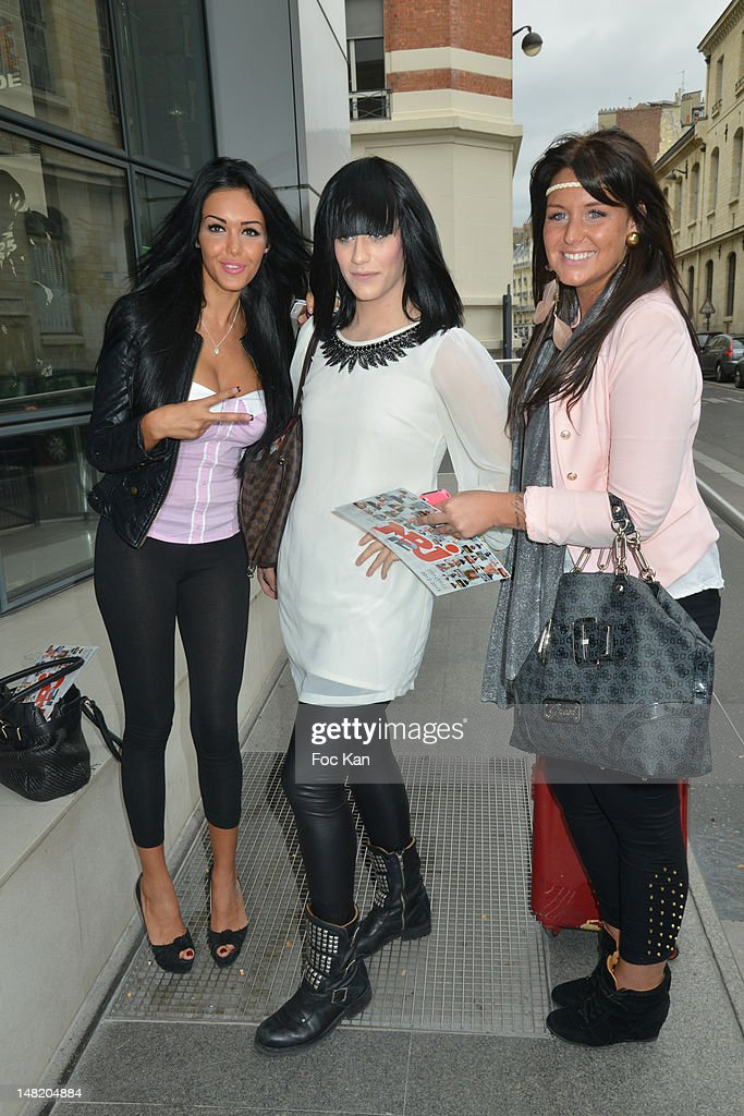 TV personalities Nabilla Benattia, Thomas Vitello and Aurelie from NRJ 12 Mag attend the NRJ 12 Reality TV Press Conference at NRJ 12 Studio on July 12, 2012 in Paris, France.