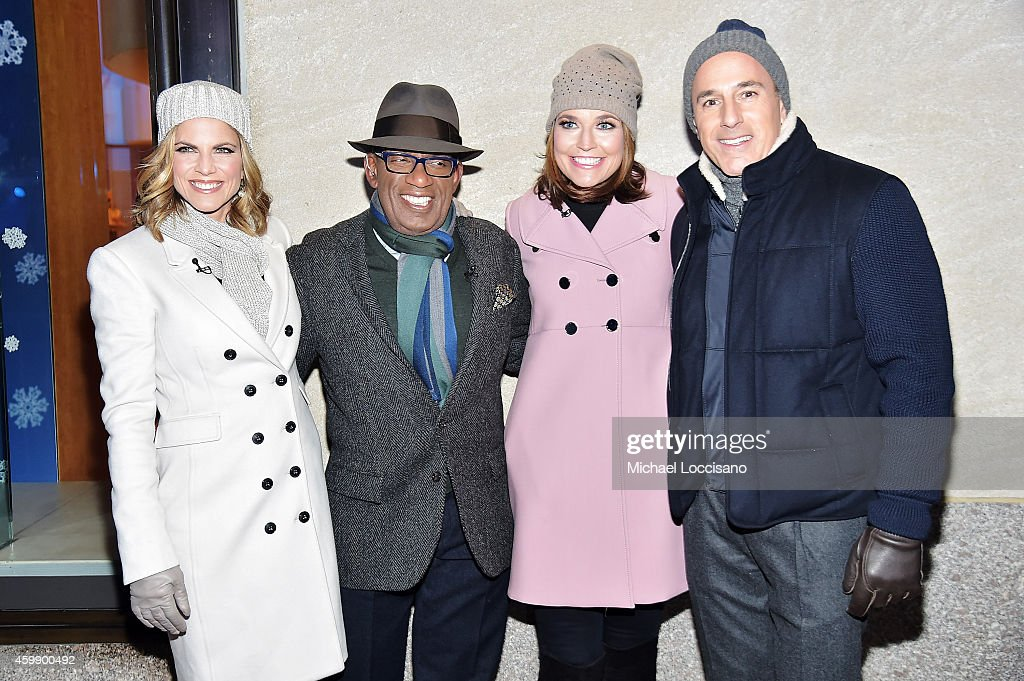TV personalities Natalie Morales Al Roker Savannah Guthrie and Matt Lauer attend the 82nd annual Rockefeller Christmas Tree Lighting Ceremony at...
