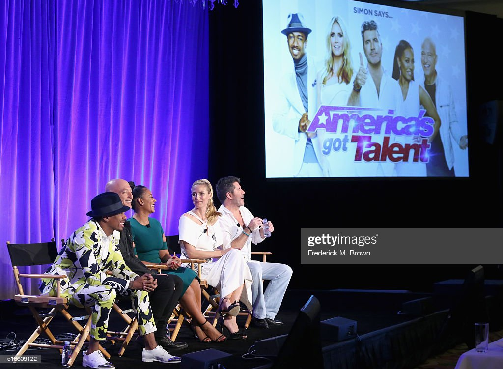 TV personalities Nick Cannon Howie Mandel Mel B Heidi Klum and TV personality/producer Simon Cowell speak onstage during the 'America's Got Talent'...