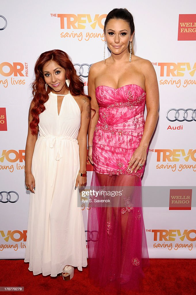 TV personalities Nicole Snooki Polizzi and Jenni Jwoww Farley arrive for the Trevor Project's 2013 'TrevorLIVE' Event Honoring Cindy Hensley McCain at Chelsea Piers on June 17, 2013 in New York City.
