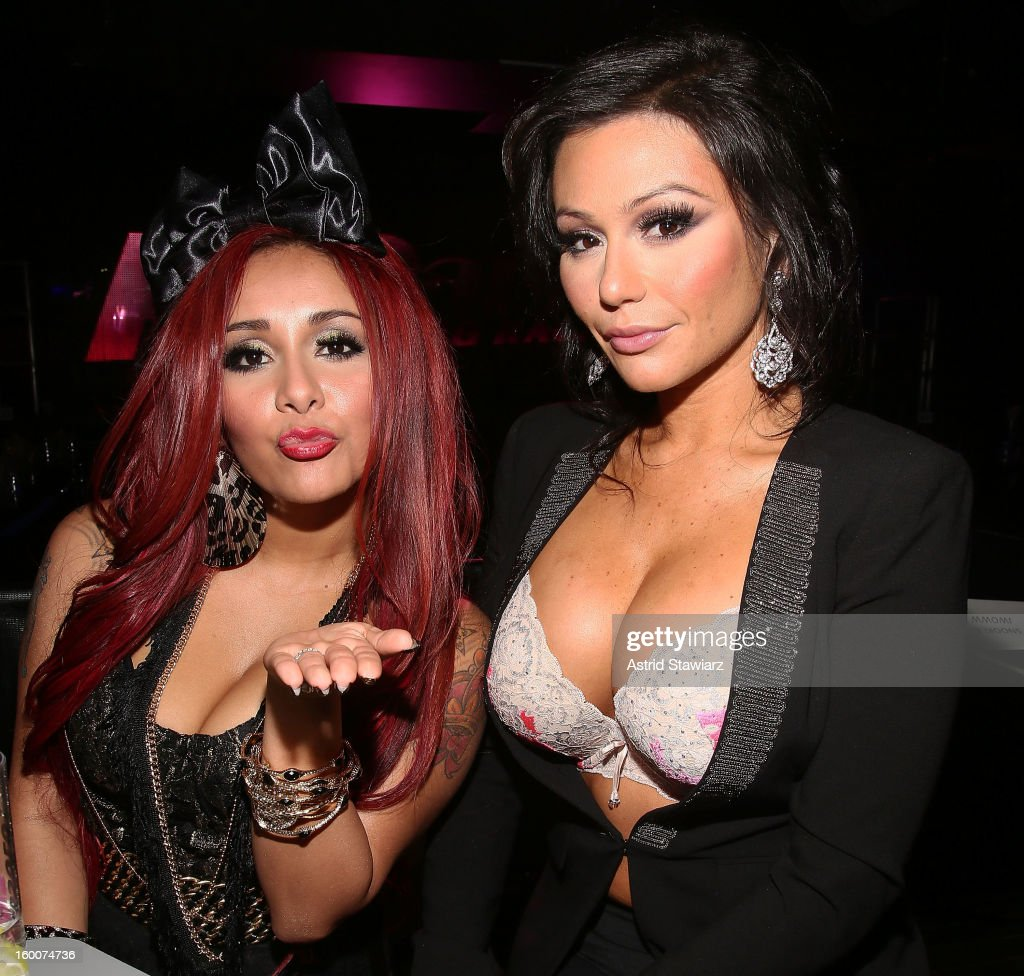 TV personalities Nicole 'Snooki' Polizzi and Jenni 'JWoww' Farley attend 'Rupaul's Drag Race' Season 5 Premiere Party at XL Nightclub on January 25, 2013 in New York City.