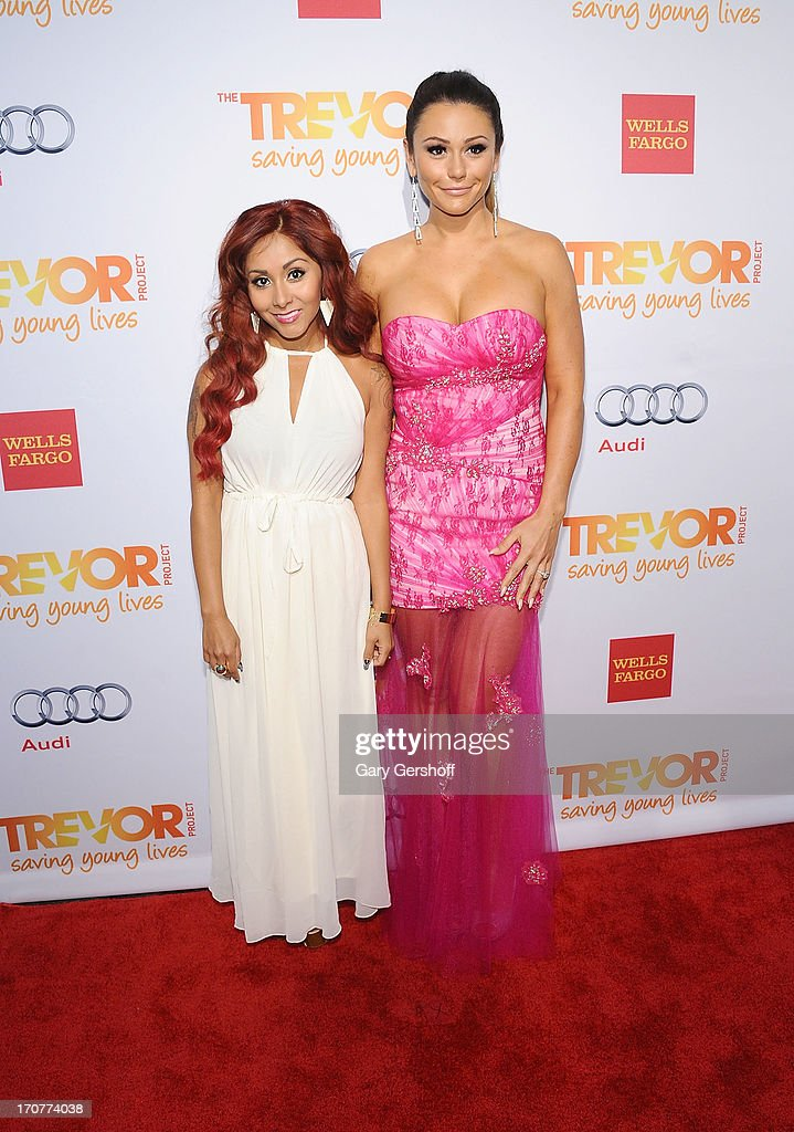 TV personalities Nicole 'Snooki' Polizzi (L) and Jenni 'JWoww' Farley attend TrevorLIVE New York at Pier Sixty at Chelsea Piers on June 17, 2013 in New York City.