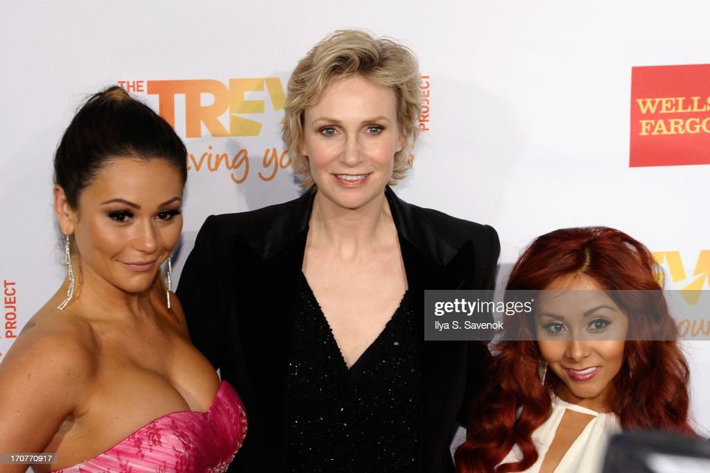 TV personalities Nicole Snooki Polizzi and Jenni Jwoww Farley pose with actress <a gi-track='captionPersonalityLinkClicked' href=/galleries/search?phrase=Jane+Lynch&family=editorial&specificpeople=663918 ng-click='$event.stopPropagation()'>Jane Lynch</a> at the Trevor Project's 2013 'TrevorLIVE' Event Honoring Cindy Hensley McCain at Chelsea Piers on June 17, 2013 in New York City.