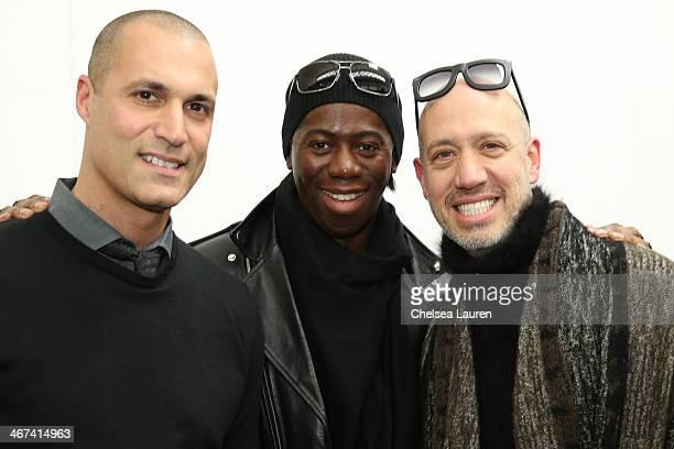 TV personalities Nigel Barker Miss J Alexander and Robert Verdi attend the Duckie Brown fashion show during MercedesBenz Fashion Week Fall 2014 at...