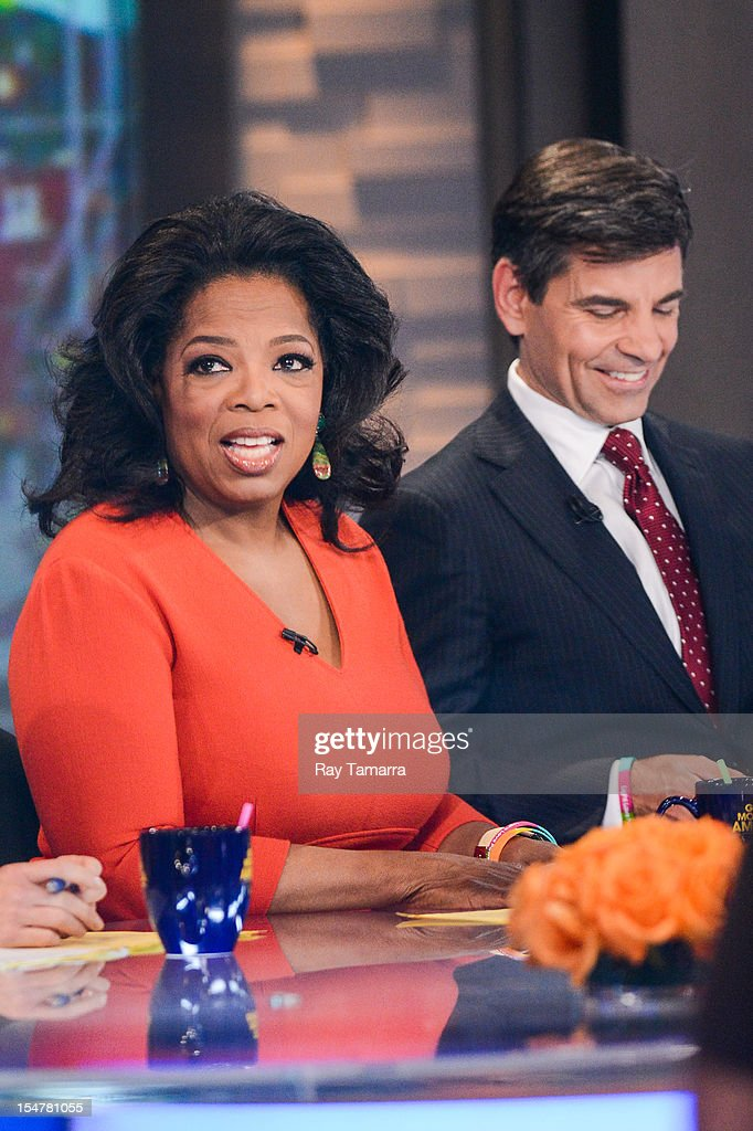 TV personalities <a gi-track='captionPersonalityLinkClicked' href=/galleries/search?phrase=Oprah+Winfrey&family=editorial&specificpeople=171750 ng-click='$event.stopPropagation()'>Oprah Winfrey</a> (L) and <a gi-track='captionPersonalityLinkClicked' href=/galleries/search?phrase=George+Stephanopoulos&family=editorial&specificpeople=206404 ng-click='$event.stopPropagation()'>George Stephanopoulos</a> host the 'Good Morning America' taping at the ABC Times Square Studios on October 25, 2012 in New York City.