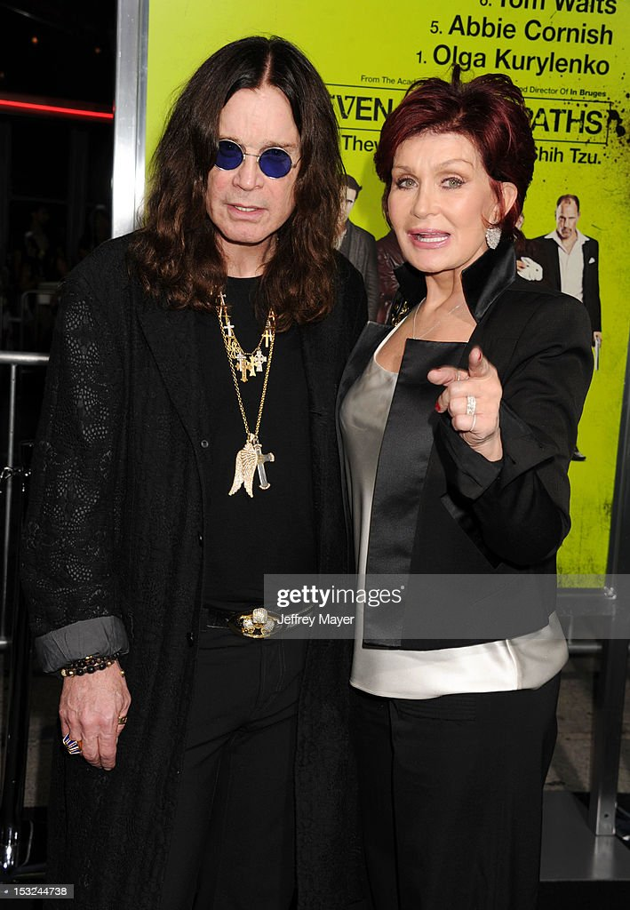 TV Personalities <a gi-track='captionPersonalityLinkClicked' href=/galleries/search?phrase=Ozzy+Osbourne&family=editorial&specificpeople=138608 ng-click='$event.stopPropagation()'>Ozzy Osbourne</a> and <a gi-track='captionPersonalityLinkClicked' href=/galleries/search?phrase=Sharon+Osbourne&family=editorial&specificpeople=203094 ng-click='$event.stopPropagation()'>Sharon Osbourne</a> arrive at the Los Angeles premiere of 'Seven Psychopaths' at Mann Bruin Theatre on October 1, 2012 in Westwood, California.