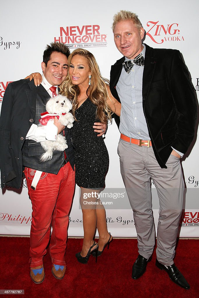 TV personalities Pol' Atteu, Adrienne Maloof and Patrik Simpson arrive at The Maloof Foundation and Jacob's Peter W. Busch family foundation holiday toy donation on December 18, 2013 in Beverly Hills, California.