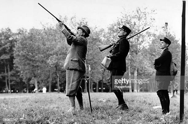 October 1949 Alfred Duff Cooper British Ambassador to France pictured shooting at Rambouillet near Paris