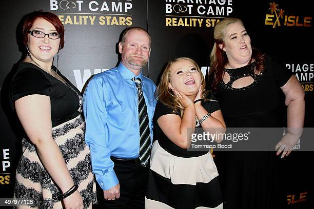 TV personalities Pumpkin Mike 'Sugar Bear' Thompson Alana 'Honey Boo Boo' Thompson and Mama June Shannon attend the We tv celebrates the premiere of...