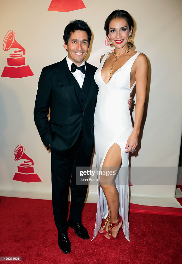 TV personalities Rafael Araneda (L) and Carolina de Moras attend the 2014 Person of the Year honoring Joan Manuel Serrat at the Mandalay Bay Events Center on November 19, 2014 in Las Vegas, Nevada.