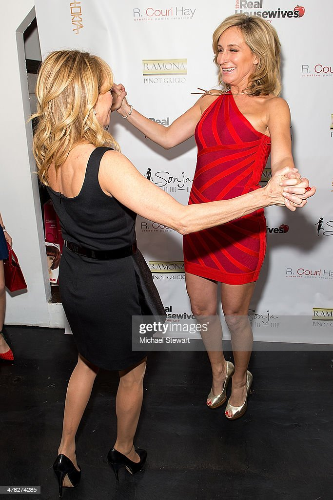 TV personalities Ramona Singer (L) and Sonja Morgan attend the 'The Real Housewives Of New York City' season six premiere party at Tokya on March 12, 2014 in New York City.