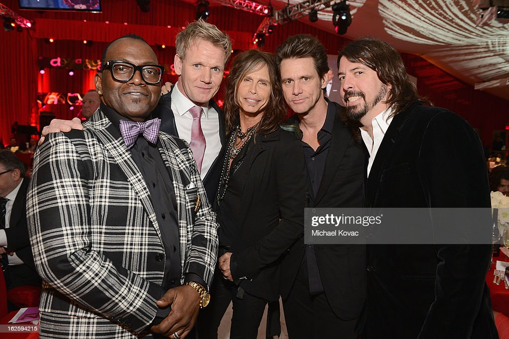 TV Personalities Randy Jackson and Gordon Ramsay, singer Steven Tyler, actor Jim Carrey and musician Dave Grohl attend the 21st Annual Elton John AIDS Foundation Academy Awards Viewing Party at West Hollywood Park on February 24, 2013 in West Hollywood, California.