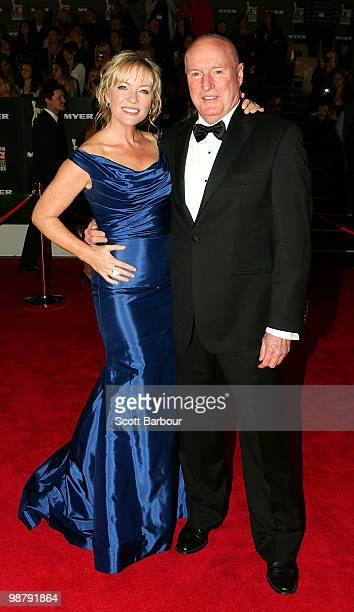 TV personalities Rebecca Gibney and Ray Meagher arrive at the 52nd TV Week Logie Awards at Crown Casino on May 2 2010 in Melbourne Australia