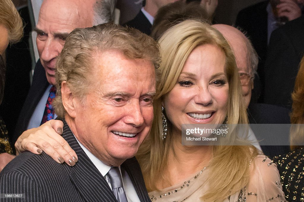TV personalities <a gi-track='captionPersonalityLinkClicked' href=/galleries/search?phrase=Regis+Philbin&family=editorial&specificpeople=202495 ng-click='$event.stopPropagation()'>Regis Philbin</a> (L) and <a gi-track='captionPersonalityLinkClicked' href=/galleries/search?phrase=Kathie+Lee+Gifford&family=editorial&specificpeople=203269 ng-click='$event.stopPropagation()'>Kathie Lee Gifford</a> attend the 'Scandalous' Broadway Opening Night after party at Copacabana on November 15, 2012 in New York City.