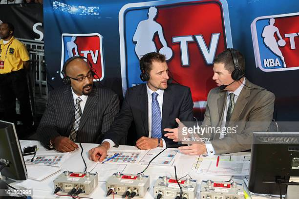 Personalities Rick Kamla Dennis Scott and Brent Barry talk before the 2013 NBA DLeague AllStar Game in Sprint Arena at Jam Session during the NBA...