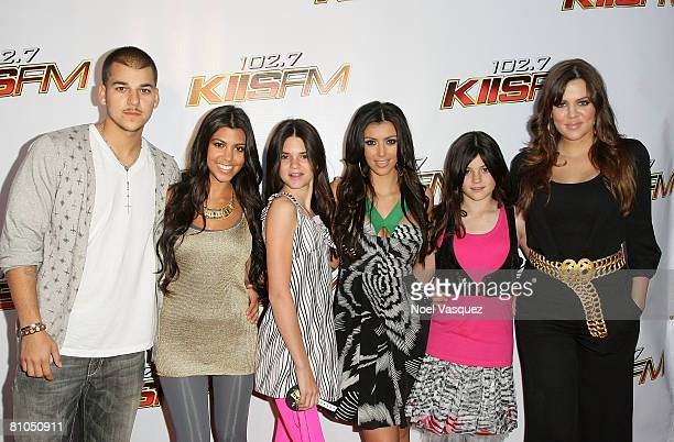 TV personalities Robert Kardashian Kourtney Kardashian Kendall Jenner Kim Kardashian Kylie Jenner and Khloe Kardashian arrive at the KIISFM's 2008...