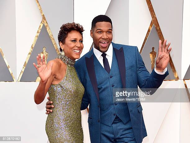 TV personalities Robin Roberts and Michael Strahan attends the 88th Annual Academy Awards at Hollywood Highland Center on February 28 2016 in...