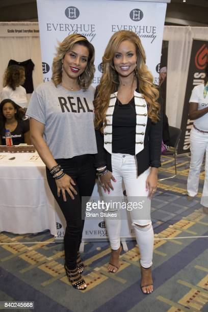 TV personalities Robyn Dixon and Gizelle Bryant attend Day 2 of the '2017 Ubiquitous Beauty Hair Health Expo' at Walter E Washington Convention...