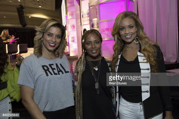 TV personalities Robyn Dixon Eva Marcille and Gizelle Bryant attend Day 2 of the '2017 Ubiquitous Beauty Hair Health Expo' at Walter E Washington...