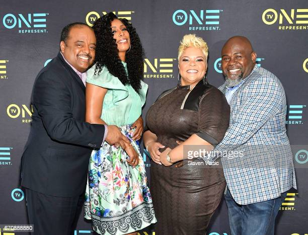 TV personalities Roland Martin Tasha Smith David and Tamela Mann attend TV One Upfront press junket of upcoming 4Q17 and 2018 programming slate at...