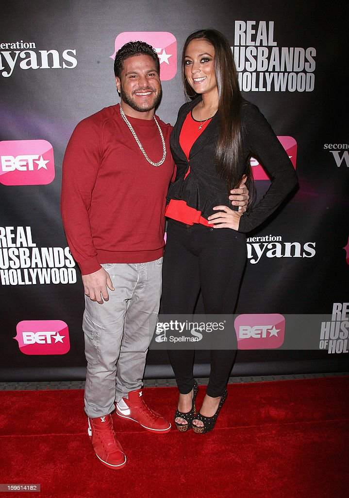 TV Personalities Ronnie Ortiz-Magro and Samantha Giancola attend the 'Real Husbands Of Hollywood' & 'Second Generation Wayans' screening at SVA Theatre on January 14, 2013 in New York City.