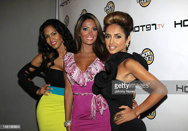 TV personalities Rosa Acosta Elizabeth Vashisht and Shakur Sozahdah attend the Hot 97 TV 'Los Blancos' Premiere at Villa Pacri on July 24 2012 in New...