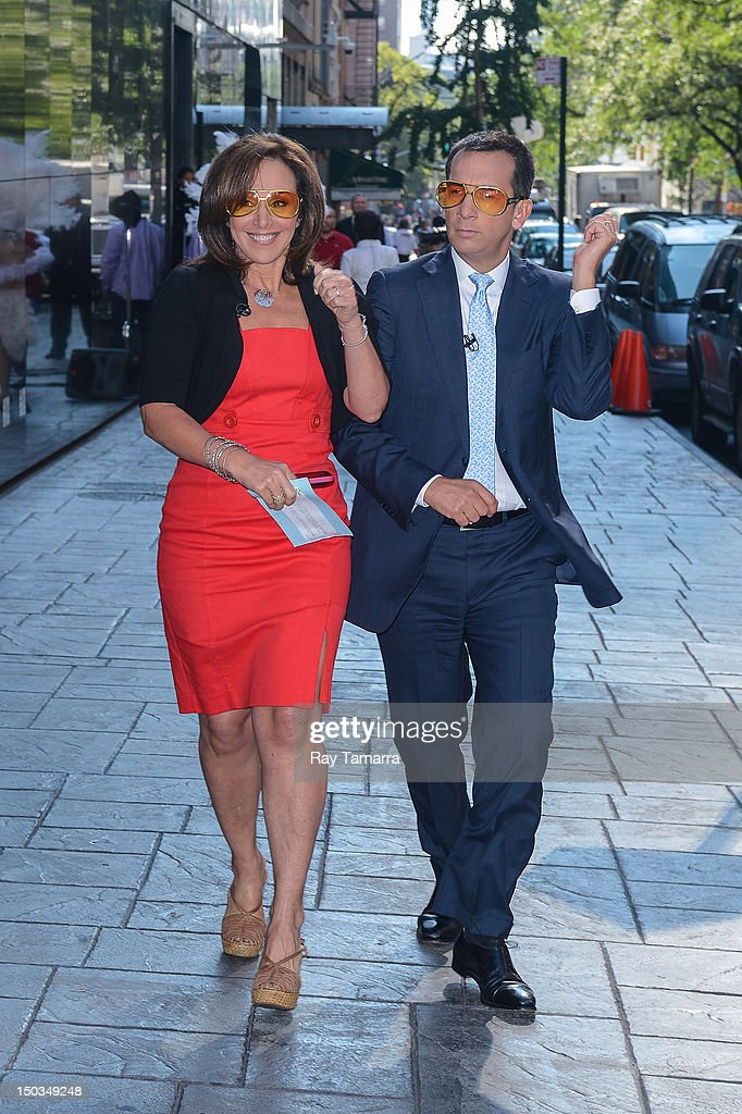 TV personalities <a gi-track='captionPersonalityLinkClicked' href=/galleries/search?phrase=Rosanna+Scotto&family=editorial&specificpeople=704122 ng-click='$event.stopPropagation()'>Rosanna Scotto</a> (L) and David Price enter the 'Good Day New York' taping at the Fox 5 Studios on August 16, 2012 in New York City.
