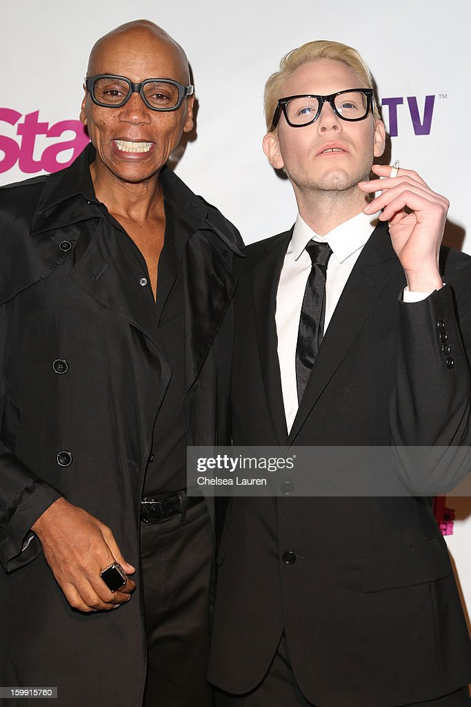 TV personalities RuPaul (L) and Sharon Needles arrive at 'RuPaul's Drag Race' season 5 premiere party at The Abbey on January 22, 2013 in West Hollywood, California.
