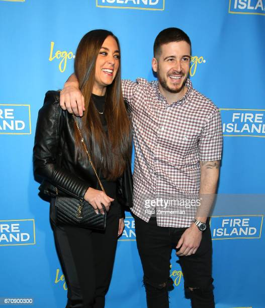TV personalities Sammi Giancola and Vinny Guadagnino attend the 'Fire Island' New York Premiere at Atlas Social Club on April 20 2017 in New York City