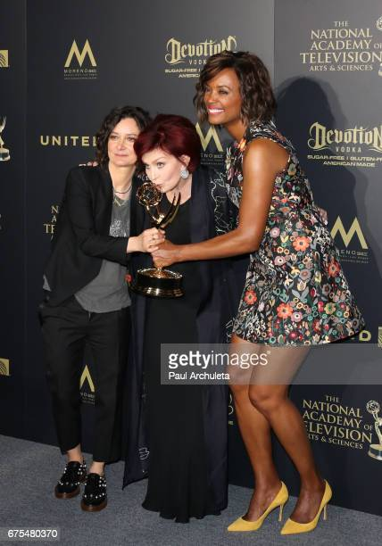 TV Personalities Sara Gilbert Sharon Osbourne and Aisha Tyler attend the press room for the 44th annual Daytime Emmy Awards at Pasadena Civic...