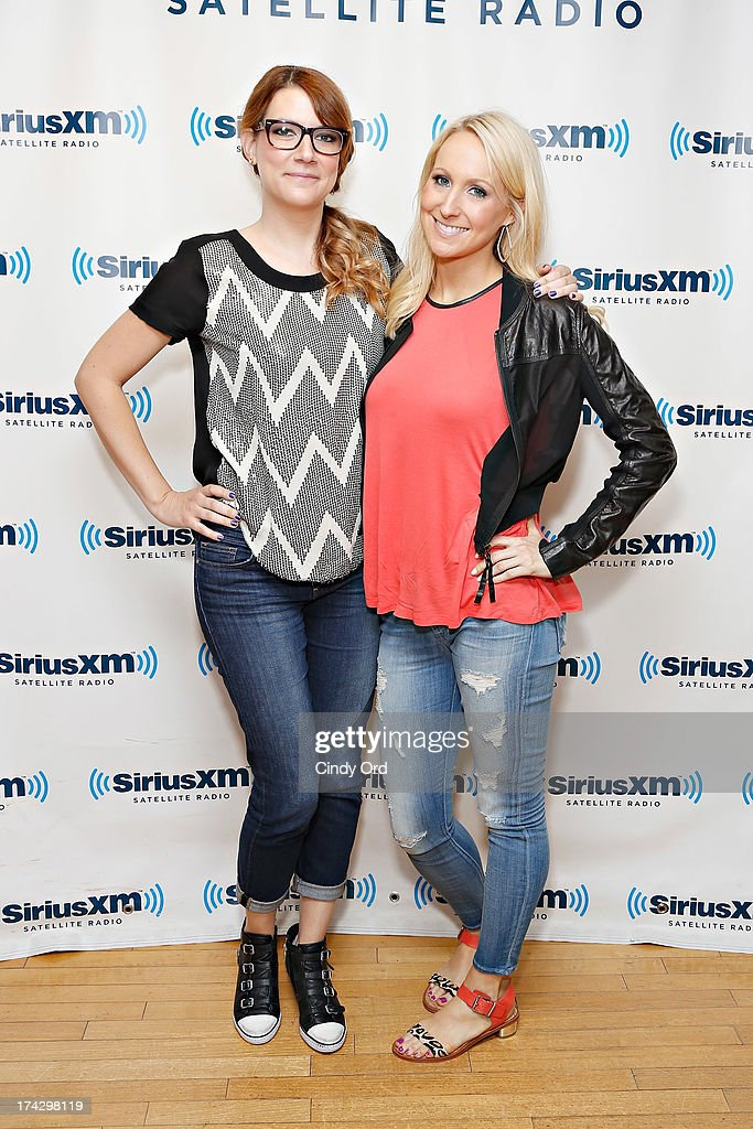 TV personalities <a gi-track='captionPersonalityLinkClicked' href=/galleries/search?phrase=Sara+Schaefer&family=editorial&specificpeople=7320919 ng-click='$event.stopPropagation()'>Sara Schaefer</a> and Nikki Glaser visit the SiriusXM Studios on July 23, 2013 in New York City.
