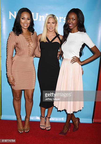 TV personalities Sasha Gates Barbie Blank and Tia Shipman arrive at the 2016 Summer TCA Tour NBCUniversal Press Tour at the Four Seasons Hotel...